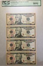 2004A $10 ATLANTA * STAR * ⭐️ SHEET OF 4 BANKNOTES, PCGS SUPERB GEM NEW 68 PPQ