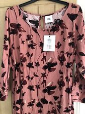 Mamalicious Pink Floral Maternity Dress New With Tags Size Large Uk 14