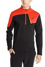 SPYDER Mens Sz S Charger Therma Stretch T-Neck Half-Zip - Black /Volcano /Orange