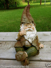 New listing Woodland Garden Gnome 10.8 in. Sitting Lawn Ornament Yard Decor Village Resin