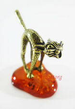 "Bronze Brass Figurine Statuette Russian "" Cat Baltic Amber # 73"