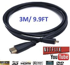 3 METER Micro HDMI to HDMI Cable for Hudle Kindle Fire HD 2nd Gen -2012 to TV