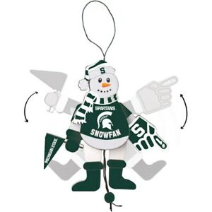 Michigan State Spartans Cheering Snowman Christmas Ornament Arms & Legs Move NWT
