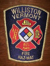 Williston Vermont Fire Department Patch