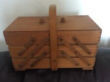 Wooden Vintage Cantilever/Concertina 3 Tier Sewing Box & Contents