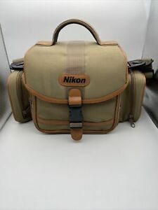 Nikon Canvas Soft Shell Shoulder Nylon Camera Bag Compartments Leather Trim