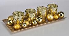 Weihnachtsdeko Windlicht-Set mit Tablett gold (54244) Kerzentablett