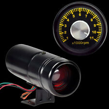 HS 1000 11000RPM Adjustable Red LED Tacho Gauge Tachometer Shift Light Black