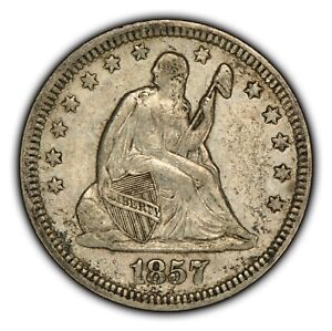 1857 25c Seated Liberty Silver Quarter - Luster - XF+ Coin - SKU-B1075