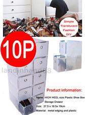 HIGH HEEL Size Plastic Shoe Box Storage Stackable Foldable Storage Drawer 10PCS