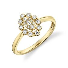 14K Yellow Gold Diamond Baguette Marquise Ring Statement Right Hand Womens