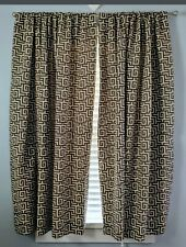 Pottery Barn Lined Curtains 2 Panels Pair Brown Geometric Print Lined 50x63