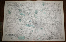 More details for 1880s antique map of environs manchester bacon atlas of the british isles