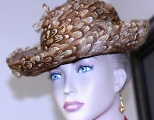 bc855d5624cf4 1960 hat union label brown wool felt feather crown brim 21 1 4