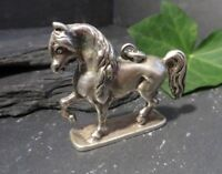 800 Silber Anhänger Pferd Plastisch Charivari Schwer Tracht Jugendstil Art Deco