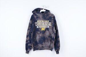 Vtg 90s Mens Medium University of Michigan Football Acid Wash Hoodie Sweatshirt