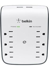 Belkin SurgePlus 10W 6-Outlet USB Wall Mount Surge Protector 900 Joul