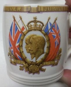 King George V and Queen Mary Silver Jubilee commemorative Beaker and Mug.   A3