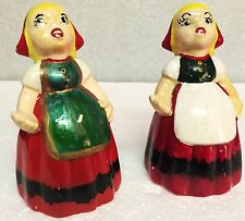 Vintage Woman in Red Dress & Bonnets Made in Japan Salt & Pepper Shakers
