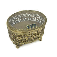 Vintage 1950s Matson Gold Plated Ormolu Filigree Metal Glass Trinket Jewelry Box