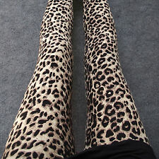 Women Leopard Printing Leggings Crop Jeans Full Length Stretchy Trousers