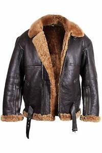 Mens RAF B3 Real Shearling Sheepskin Bomber Aviator  Winter Warm Fur Coat