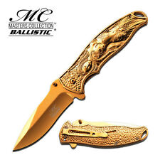 Master Collection Spring Assisted Folding Pocket Knife Gold Titanium Switch