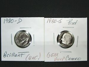 1980 D - 1980 S Roosevelt Proof Uncirculated Dimes Lot (2 Coins)