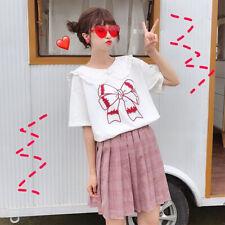 Women Summer fashion Sweet Doll Collar Bow printing Short sleeve T-shirt
