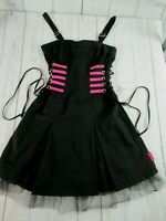 TRIPP NYC Hot Topic Black Pink Gothic Steampumk Rockabilly Corset Dress Medium