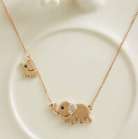 Lovely Girl Elephant Family Stroll Charm Pendant Crystal Chain Necklace