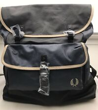 Fred Perry Hommes Coated dos en toile coton Sac Bleu Marine RRP £ 70