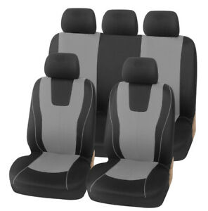 9Pcs Car SUV Seat Protector Front Rear Full Set Seat Covers Black/Grey Universal