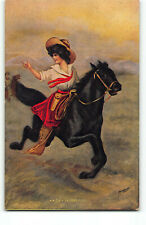 Sweet CowGirl on Horse back NO Pistol Artist Signed Printed Postcard Gun