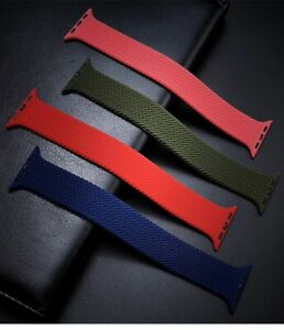 Silicone Braided Solo Loop iWatch Strap For Apple Watch Series 6 5 4 SE 40/44MM
