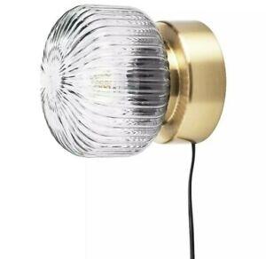 "Ikea Solklint Wall Lamp Brass / Gray Clear Glass New  7x6"""