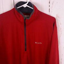 Columbia Mens Sz M Red Grey 1/2 Zip Omni Wick Long Sleeve Athletic Shirt