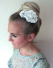 Ivoire dentelle rose ornée de perles perle cheveux vintage clip peigne mariée nuptiale choochie Choo