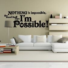 Wall Decor Art Vinyl Removable Bedroom Parlor Decal Sticker Nothing Impossible