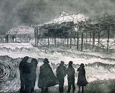 "RARE ORIGINAL MIRANDA HALSBY R.B.A ETCHING ""Decline of The West, Brighton Pier"""