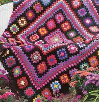 Crochet Pattern Afghan Throw Blanket Vintage Granny Square Masterpiece