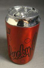 "LUCKY COLA SODA CAN LOGO RED & BLACK REFILLABLE BUTANE CIGARETTE LIGHTER 2.75"""