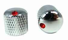 2pc. Chrome Dome Knobs with Ruby Indicators for Guitars & More!
