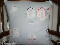 "16"" NEW CUSHION COVER PILLOW CLARKE BEACH HUT SEASIDE RED BLUE GREY NAUTICAL"