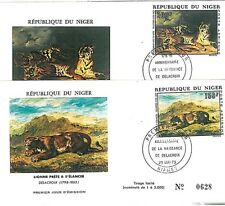 ANIMALS - LIONS . TIGERS . ART : FDC COVER set of 2 - NIGER  1973