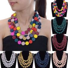 Fashion Bohemian Wood Choker Necklace Women Wooden Collar Pendant Jewelry Chain