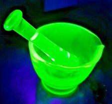 Vintage Vaseline Uranium Glass Mortar & Pestle - L@@K!!