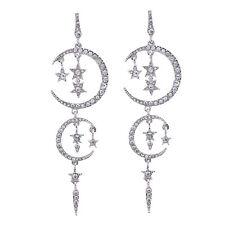 Boucles d`Oreilles Clous Argenté Lune Etoile Long Fin Mode Gros Mariage XX15
