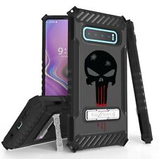 For Galaxy S10,9,8 Note 10 9 Hybrid Tri Shield Armor Hybrid Case Punisher Skull