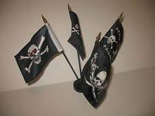 "Jr Red Eye Condent Brethren Death Zone Pirate 4 Flags 4""x6"" Desk Set Black Base"